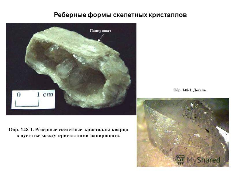 Обр. 148-1. Реберные скелетные кристаллы кварца в пустотке между кристаллами папиршпата. Обр. 148-1. Деталь Реберные формы скелетных кристаллов