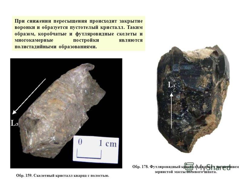 Обр. 159. Скелетный кристалл кварца с полостью. Обр. 178. Футляровидный кристалл кварца с включением зернистой массы полевого шпата. При снижении пересыщения происходит закрытие воронки и образуется пустотелый кристалл. Таким образом, коробчатые и фу
