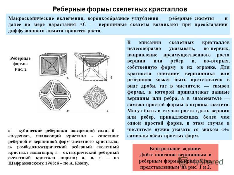 Реберные формы Рис. 2 а - кубические реберники поваренной соли; б - «лодочка», плавающий кристалл - сочетание реберной и вершинной форм скелетного кристалла; в- ромбододекаэдрический реберный скелетный кристалл нашатыря; г - октаэдрический реберный с