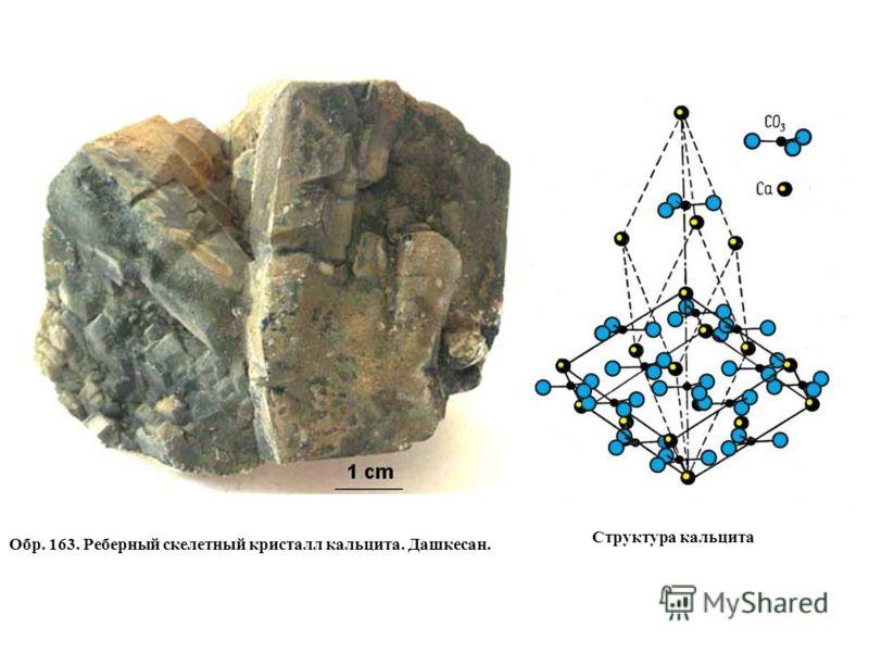 Обр. 163. Реберный скелетный кристалл кальцита. Дашкесан. Структура кальцита