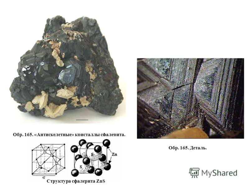 Обр. 165. Деталь. Обр. 165. «Антискелетные» кристаллы сфалерита. Структура сфалерита ZnS