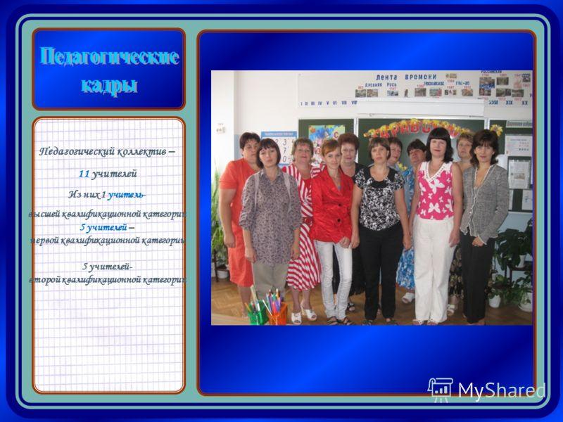 Педагогический коллектив – 11 учителей Из них 1 учитель- высшей квалификационной категории 5 учителей – первой квалификационной категории 5 учителей- второй квалификационной категории