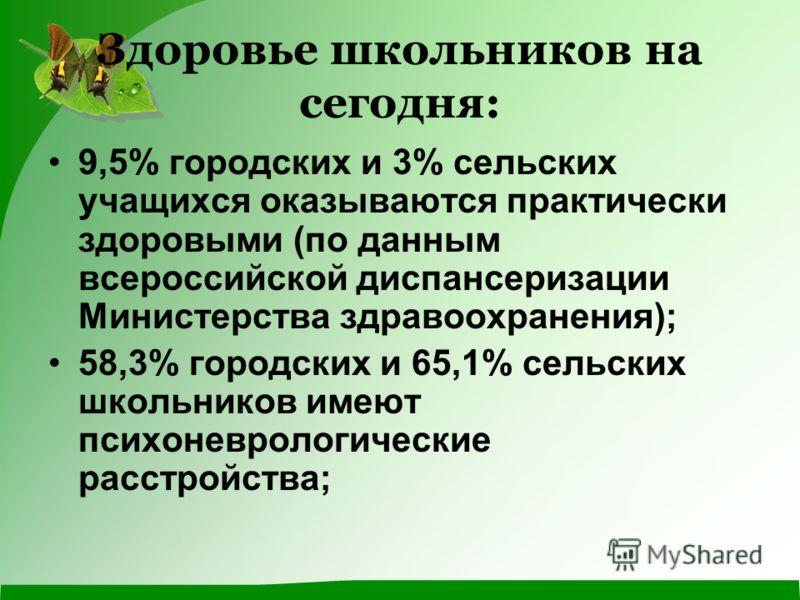 Здоровье школьников на сегодня: 9,5% городских и 3% сельских учащихся оказываются практически здоровыми (по данным всероссийской диспансеризации Министерства здравоохранения); 58,3% городских и 65,1% сельских школьников имеют психоневрологические рас