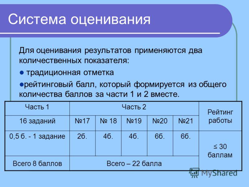 Система оценивания Для оценивания результатов применяются два количественных показателя: традиционная отметка рейтинговый балл, который формируется из общего количества баллов за части 1 и 2 вместе. Часть 1Часть 2 Рейтинг работы 16 заданий17 18192021