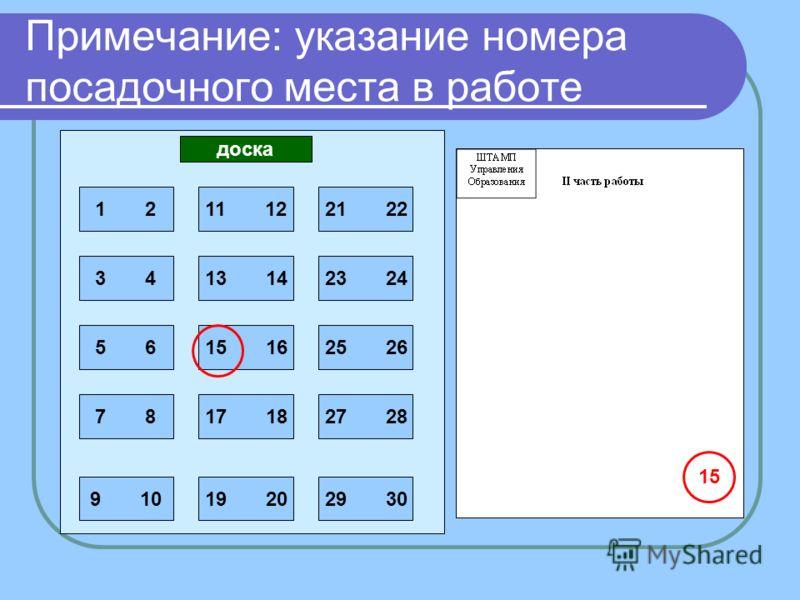 1 2 3 4 5 6 7 8 9 10 11 12 13 14 15 16 17 18 19 20 21 22 23 24 25 26 27 28 29 30 доска 15 Примечание: указание номера посадочного места в работе