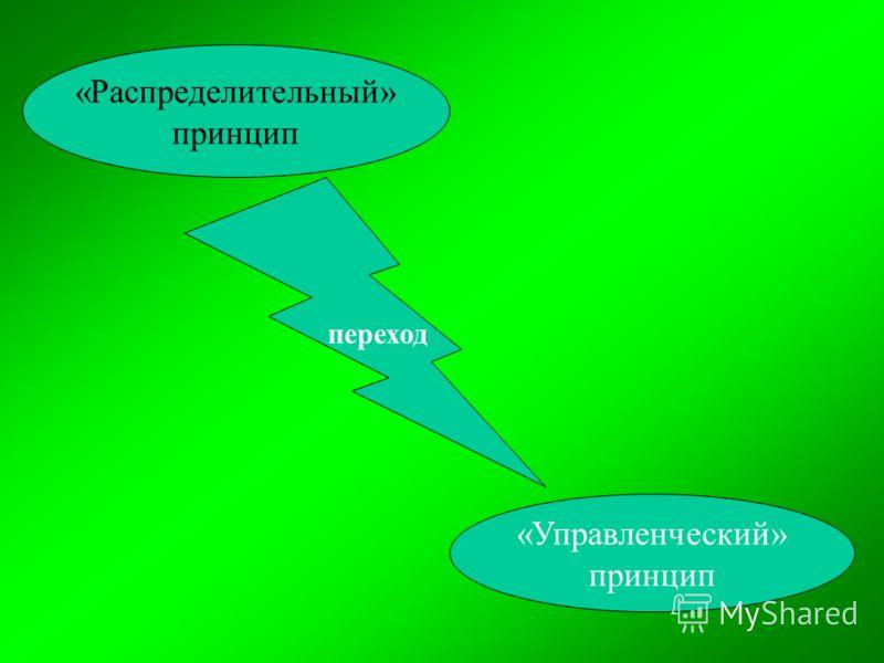 «Распределительный» принцип переход «Управленческий» принцип