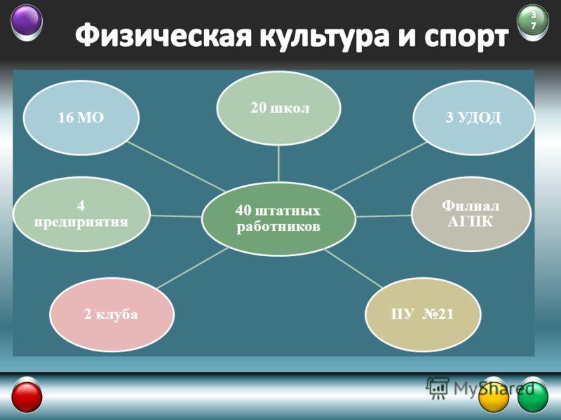 40 штатных работников 20 школ3 УДОД Филиал АГПК ПУ 212 клуба 4 предприятия 16 МО