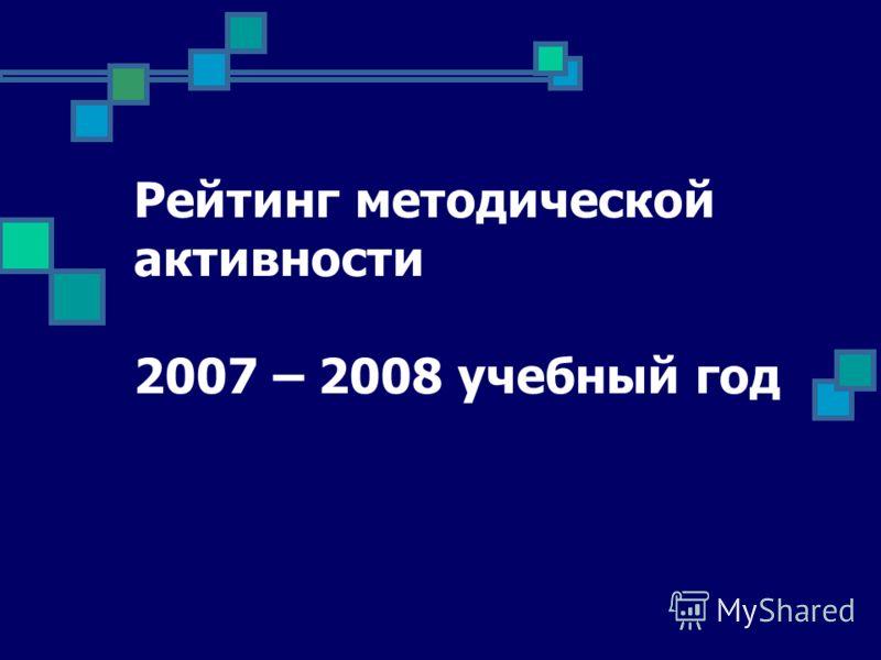 Рейтинг методической активности 2007 – 2008 учебный год