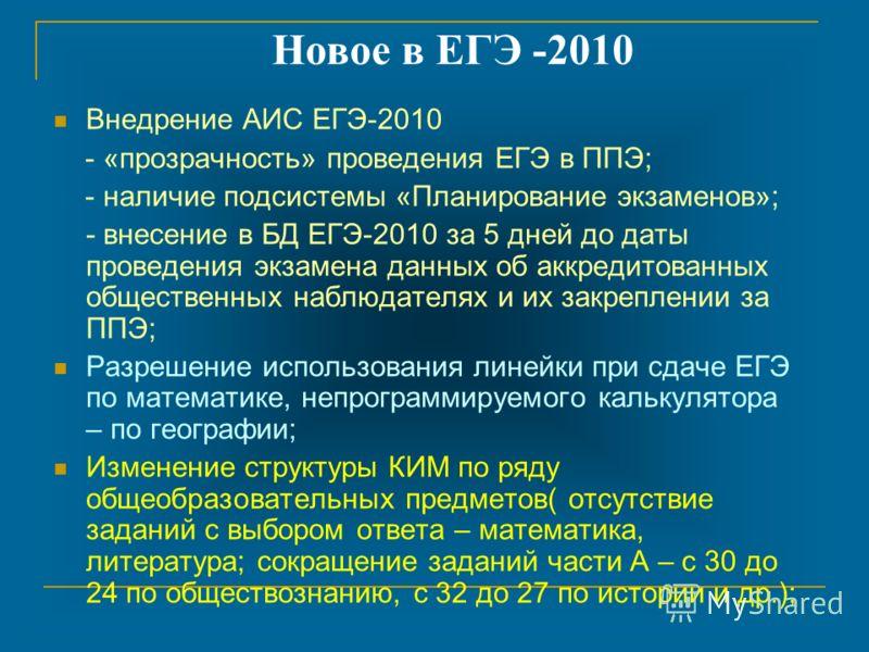 Внедрение АИС ЕГЭ-2010 - «прозрачность» проведения ЕГЭ в ППЭ; - наличие подсистемы «Планирование экзаменов»; - внесение в БД ЕГЭ-2010 за 5 дней до даты проведения экзамена данных об аккредитованных общественных наблюдателях и их закреплении за ППЭ; Р