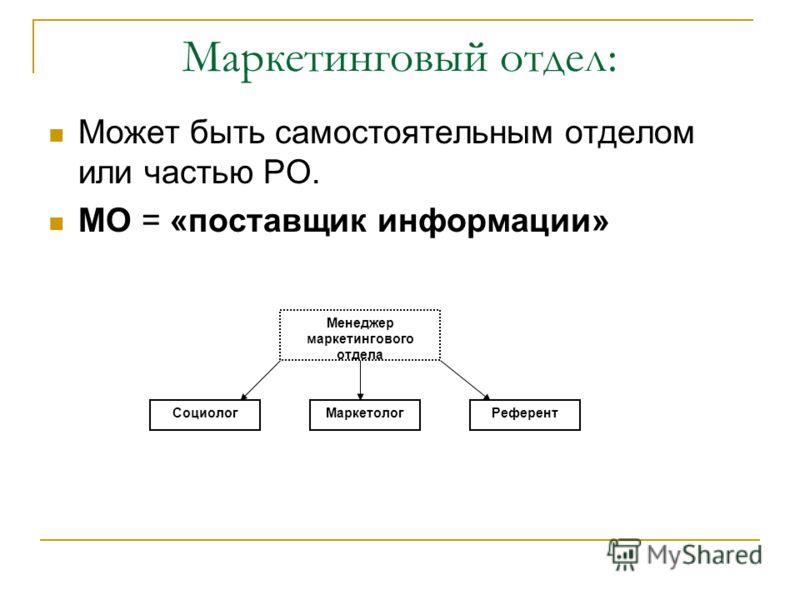 Маркетинговый отдел: Может быть самостоятельным отделом или частью РО. МО = «поставщик информации» Менеджер маркетингового отдела СоциологМаркетологРеферент