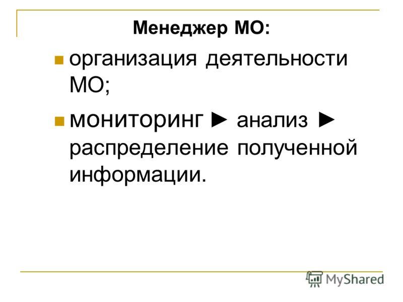 Менеджер МО: организация деятельности МО; мониторинг анализ распределение полученной информации.
