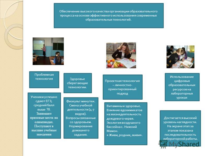 Проблемная технология Использование цифровых образовательных ресурсов на лабораторных уроках Проектная технология – личностно - ориентированный подход Витамины и здоровье. Влияние ядохимикатов на жизнедеятельность дождевого червя. Экология воздушного