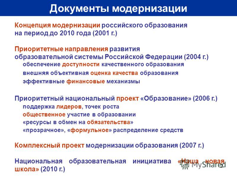 2 Документы модернизации Концепция модернизации российского образования на период до 2010 года (2001 г.) Приоритетные направления развития образовательной системы Российской Федерации (2004 г.) обеспечение доступности качественного образования внешня