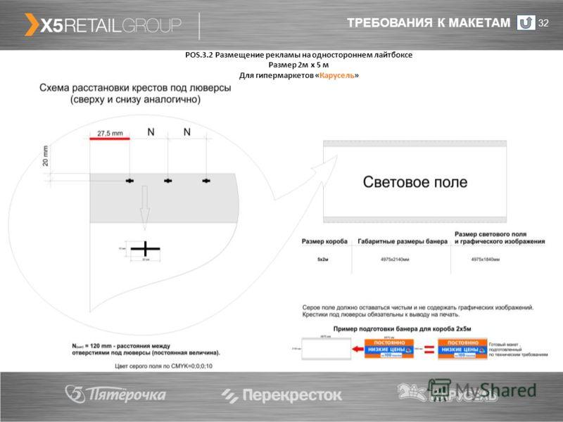 ТРЕБОВАНИЯ К МАКЕТАМ 32 POS.3.2 Размещение рекламы на одностороннем лайтбоксе Размер 2м х 5 м Для гипермаркетов «Карусель»