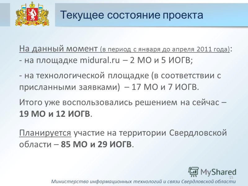 Текущее состояние проекта 15 На данный момент (в период с января до апреля 2011 года) : - на площадке midural.ru – 2 МО и 5 ИОГВ; - на технологической площадке (в соответствии с присланными заявками) – 17 МО и 7 ИОГВ. Итого уже воспользовались решени