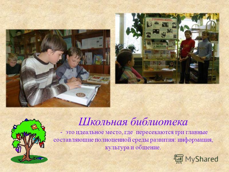 Школьная библиотека - это идеальное место, где пересекаются три главные составляющие полноценной среды развития: информация, культура и общение.