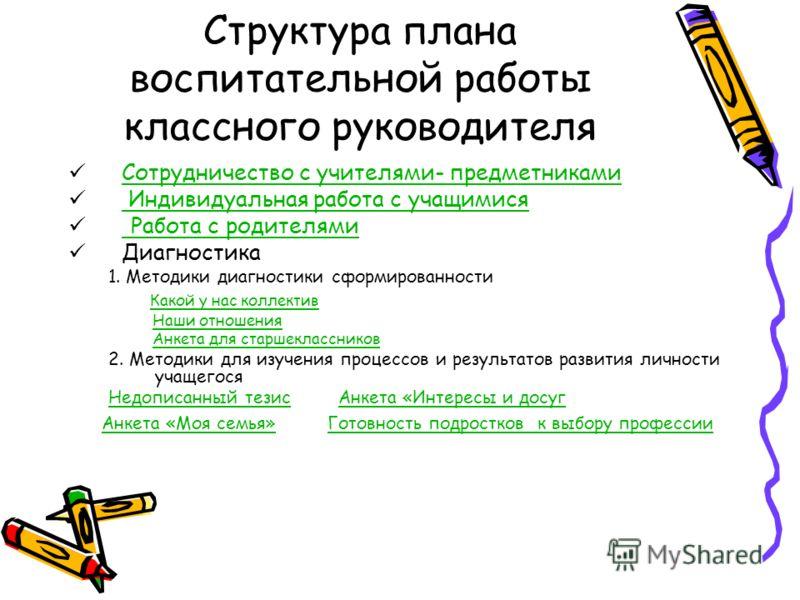 Структура плана воспитательной работы классного руководителя Сотрудничество с учителями- предметниками Индивидуальная работа с учащимися Индивидуальная работа с учащимися Работа с родителями Работа с родителями Диагностика 1. Методики диагностики сфо