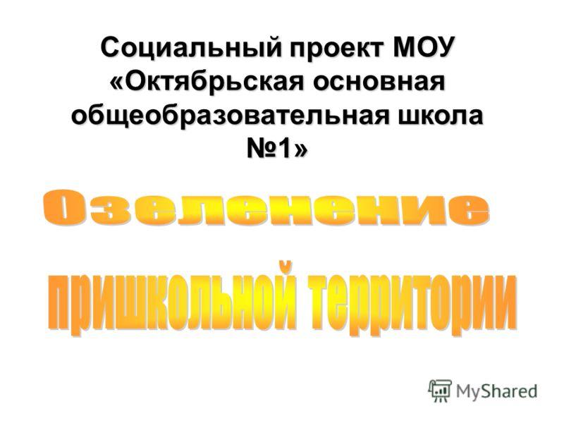 Социальный проект МОУ «Октябрьская основная общеобразовательная школа 1»