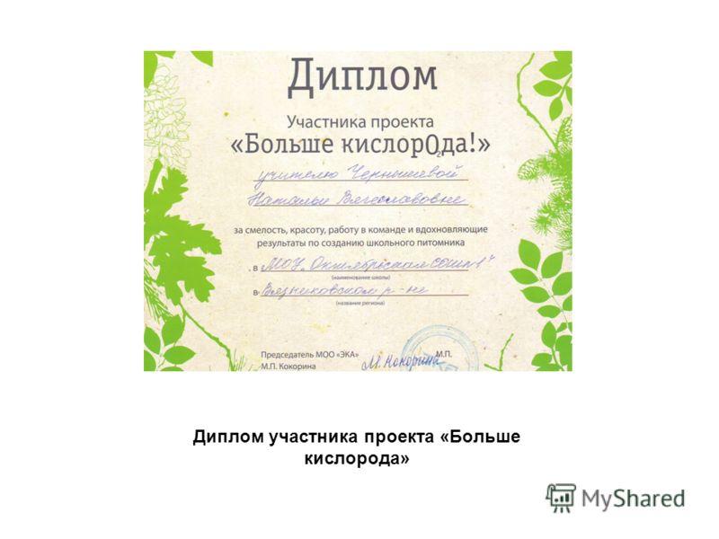 Диплом участника проекта «Больше кислорода»
