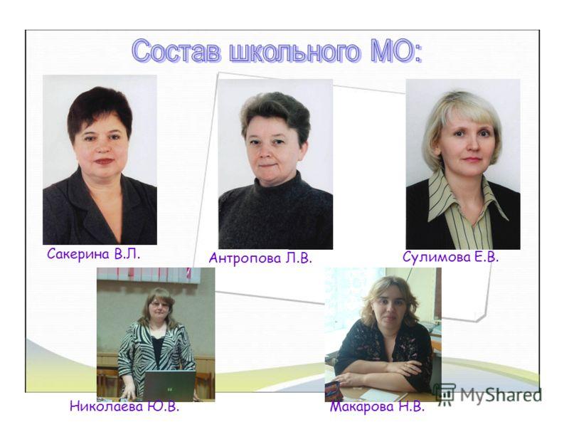Сакерина В.Л. Антропова Л.В. Сулимова Е.В. Николаева Ю.В.Макарова Н.В.