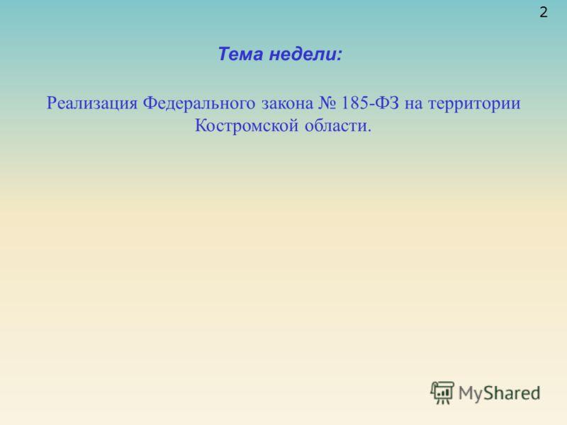 Тема недели: 2 Реализация Федерального закона 185-ФЗ на территории Костромской области.