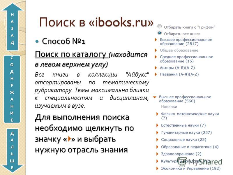 Поиск в «ibooks.ru» Способ 1 Способ 1 Поиск по каталогу ( находится в левом верхнем углу ) Все книги в коллекции