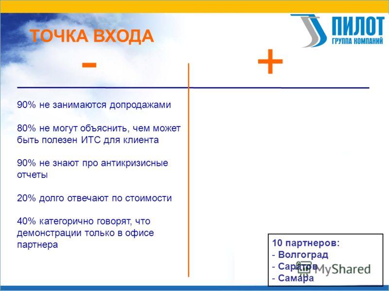 ТОЧКА ВХОДА - + 10 партнеров: - Волгоград - Саратов - Самара 90% не занимаются допродажами 80% не могут объяснить, чем может быть полезен ИТС для клиента 90% не знают про антикризисные отчеты 20% долго отвечают по стоимости 40% категорично говорят, ч