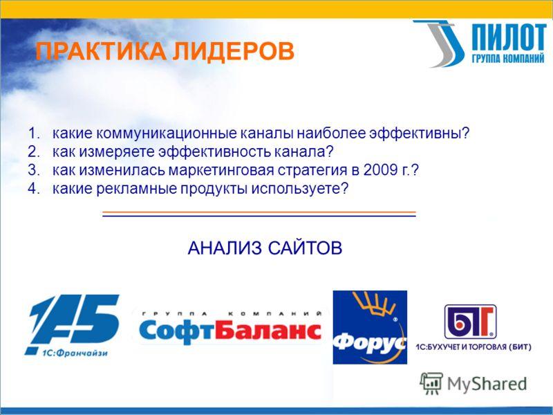 ПРАКТИКА ЛИДЕРОВ 1. какие коммуникационные каналы наиболее эффективны? 2. как измеряете эффективность канала? 3. как изменилась маркетинговая стратегия в 2009 г.? 4. какие рекламные продукты используете? АНАЛИЗ САЙТОВ