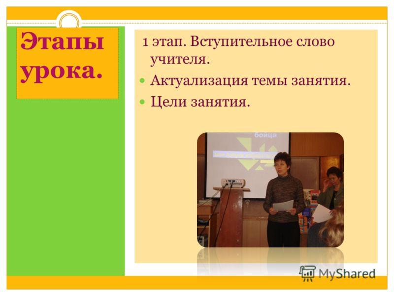 Этапы урока. 1 этап. Вступительное слово учителя. Актуализация темы занятия. Цели занятия.