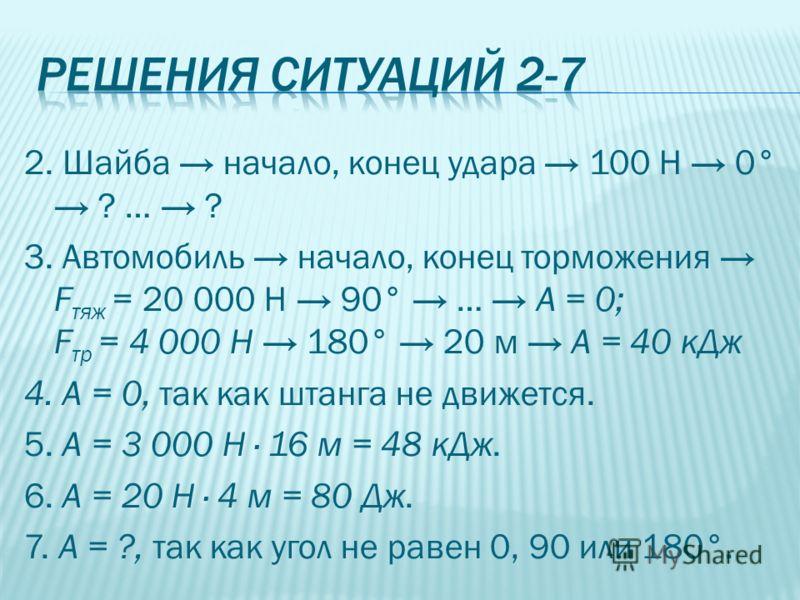 2. Шайба начало, конец удара 100 Н 0° ? … ? 3. Автомобиль начало, конец торможения F тяж = 20 000 Н 90° … A = 0; F тр = 4 000 Н 180° 20 м A = 40 кДж 4. А = 0, так как штанга не движется. 5. А = 3 000 Н · 16 м = 48 кДж. 6. А = 20 Н · 4 м = 80 Дж. 7. А