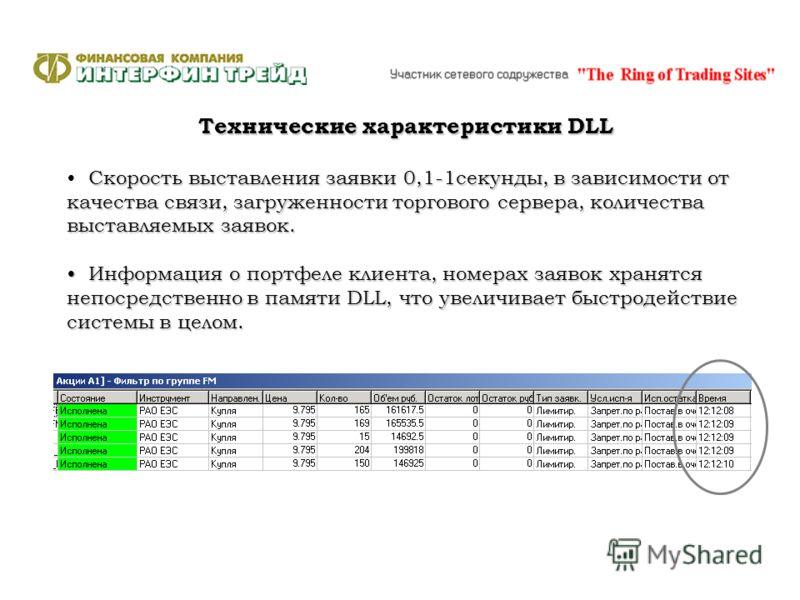 Технические характеристики DLL Скорость выставления заявки 0,1-1секунды, в зависимости от качества связи, загруженности торгового сервера, количества выставляемых заявок. Информация о портфеле клиента, номерах заявок хранятся непосредственно в памяти