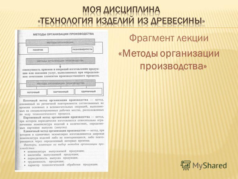 Фрагмент лекции «Методы организации производства»