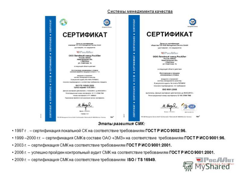 Системы менеджмента качества Этапы развития СМК: 1997 г. – сертификация локальной СК на соответствие требованиям ГОСТ Р ИСО 9002:96. 1997 г. – сертификация локальной СК на соответствие требованиям ГОСТ Р ИСО 9002:96. 1999 –2000 г.г. – сертификация СМ