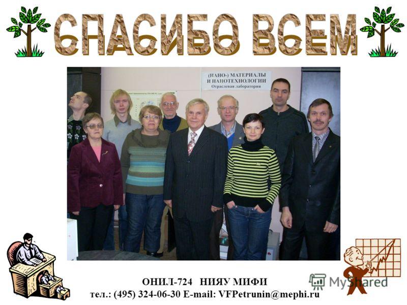 ОНИЛ-724 НИЯУ МИФИ тел.: (495) 324-06-30 E-mail: VFPetrunin@mephi.ru