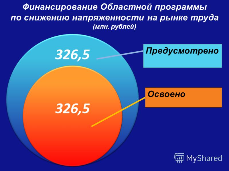 П Финансирование Областной программы по снижению напряженности на рынке труда (млн. рублей) 326,5 Освоено Предусмотрено