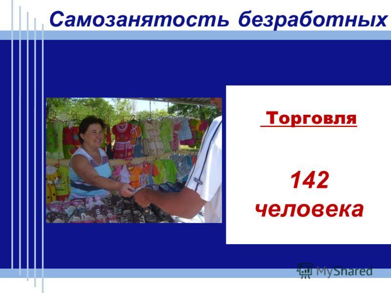 Торговля 142 человека Самозанятость безработных