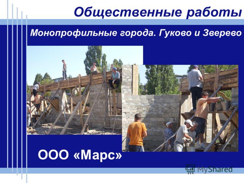Общественные работы Монопрофильные города. Гуково и Зверево ООО «Марс»
