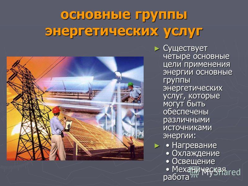 основные группы энергетических услуг Существует четыре основные цели применения энергии основные группы энергетических услуг, которые могут быть обеспечены различными источниками энергии: Существует четыре основные цели применения энергии основные гр