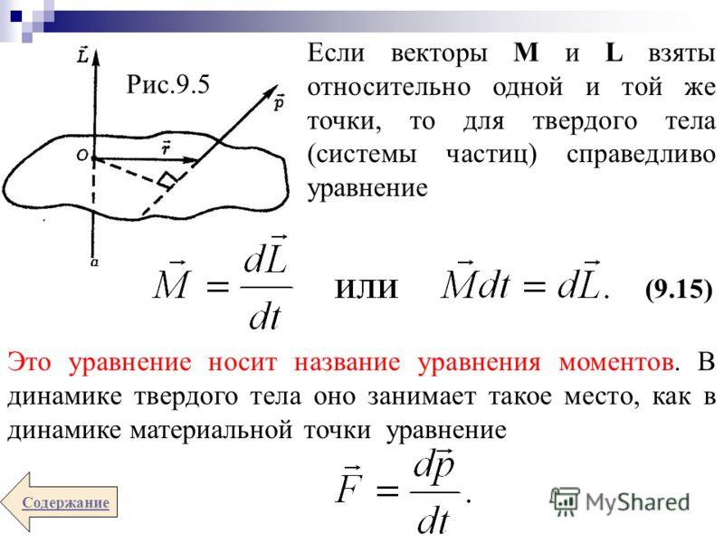 Если векторы М и L взяты относительно одной и той же точки, то для твердого тела (системы частиц) справедливо уравнение (9.15) Содержание Рис.9.5 Это уравнение носит название уравнения моментов. В динамике твердого тела оно занимает такое место, как