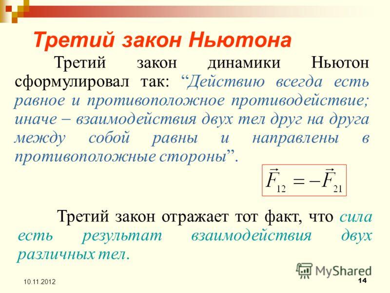 14 10.11.2012 Третий закон Ньютона Третий закон динамики Ньютон сформулировал так: Действию всегда есть равное и противоположное противодействие; иначе взаимодействия двух тел друг на друга между собой равны и направлены в противоположные стороны. Тр