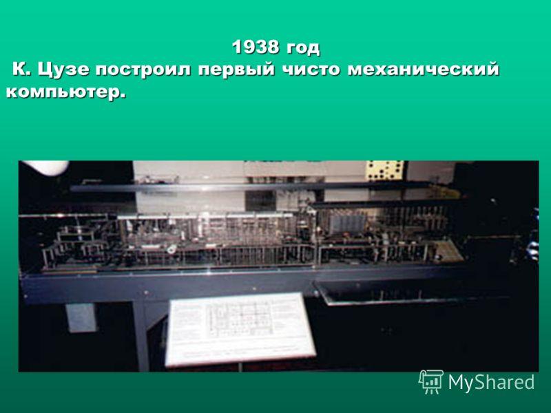 1938 год К. Цузе построил первый чисто механический компьютер. К. Цузе построил первый чисто механический компьютер.