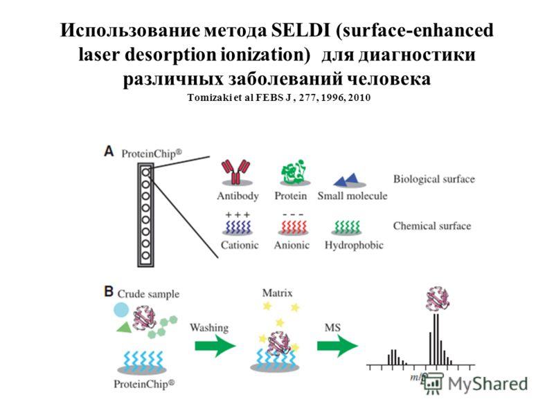 Использование метода SELDI (surface-enhanced laser desorption ionization) для диагностики различных заболеваний человека Tomizaki et al FEBS J, 277, 1996, 2010