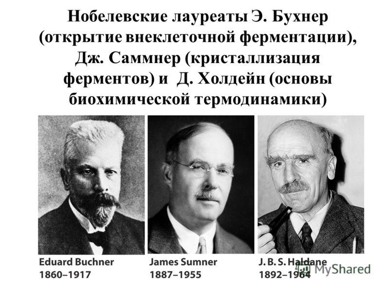 Нобелевские лауреаты Э. Бухнер (открытие внеклеточной ферментации), Дж. Саммнер (кристаллизация ферментов) и Д. Холдейн (основы биохимической термодинамики)
