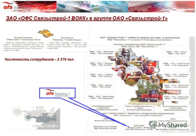 ЗАО «ОФС Связьстрой-1 ВОКК» в группе ОАО «Связьстрой-1» Численность сотрудников – 2 276 чел.