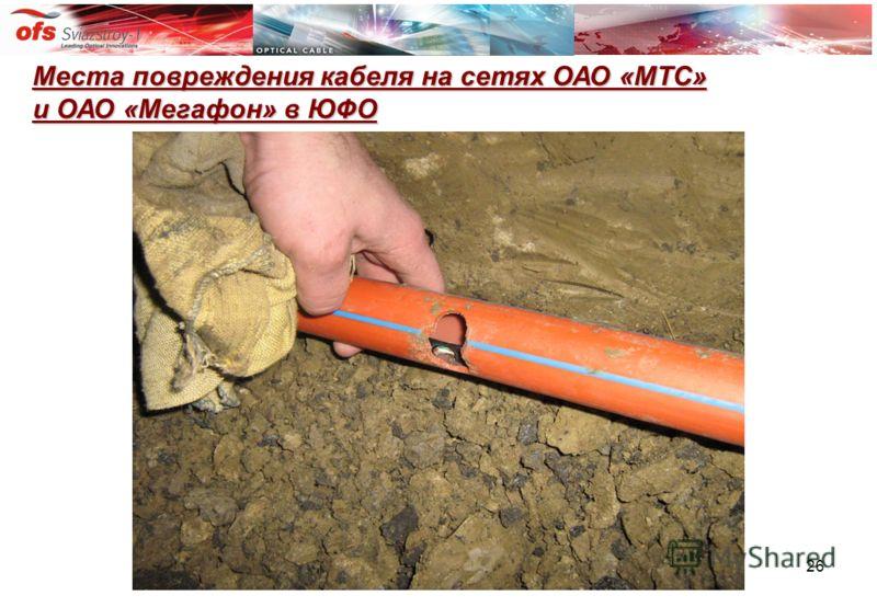 26 Места повреждения кабеля на сетях ОАО «МТС» и ОАО «Мегафон» в ЮФО