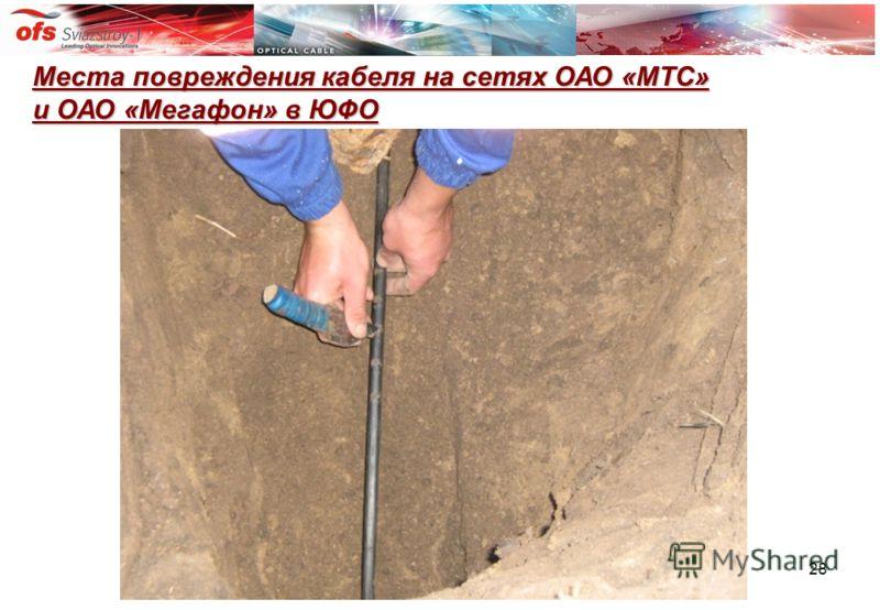 28 Места повреждения кабеля на сетях ОАО «МТС» и ОАО «Мегафон» в ЮФО