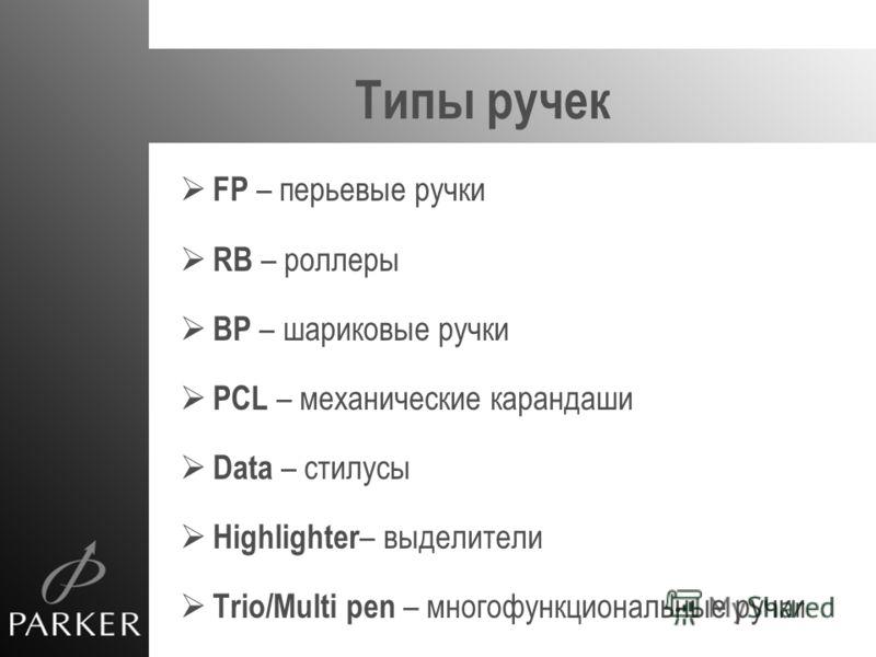 Типы ручек FP – перьевые ручки RB – роллеры BP – шариковые ручки PCL – механические карандаши Data – стилусы Highlighter – выделители Trio/Multi pen – многофункциональные ручки