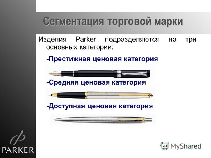 Сегментация торговой марки Изделия Parker подразделяются на три основных категории: -Престижная ценовая категория -Средняя ценовая категория -Доступная ценовая категория