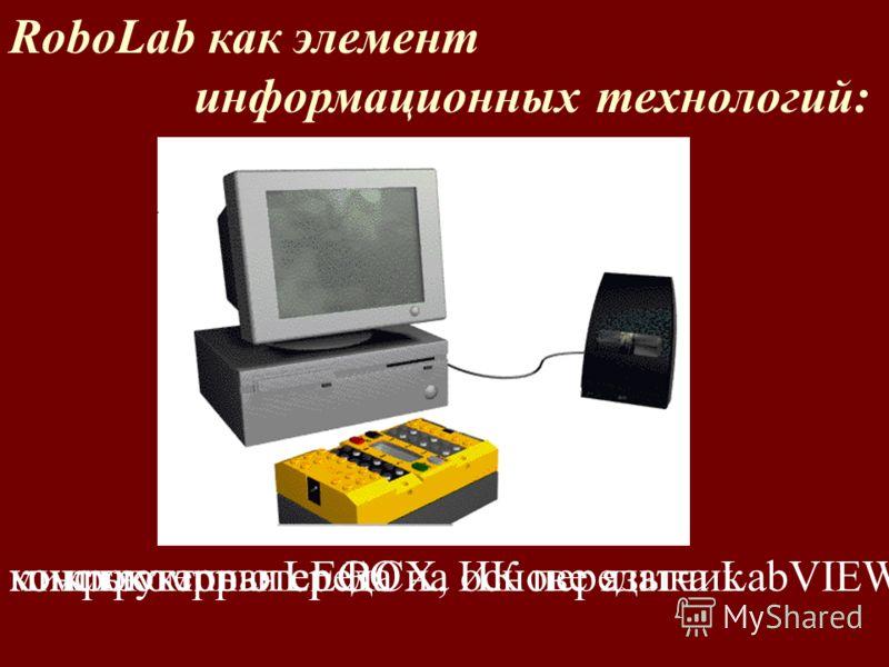RoboLab как элемент информационных технологий: конструкторы LEGOмикрокомпьютер RCX, ИК передатчиккомпьютерная среда на основе языка LabVIEW