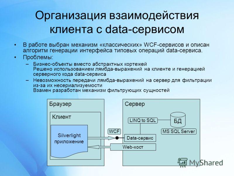 Организация взаимодействия клиента с data-сервисом В работе выбран механизм «классических» WCF-сервисов и описан алгоритм генерации интерфейса типовых операций data-сервиса. Проблемы: –Бизнес-объекты вместо абстрактных кортежей Решено использованием